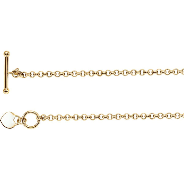 "14k Yellow Gold Heart Charm 7"" Bracelet"