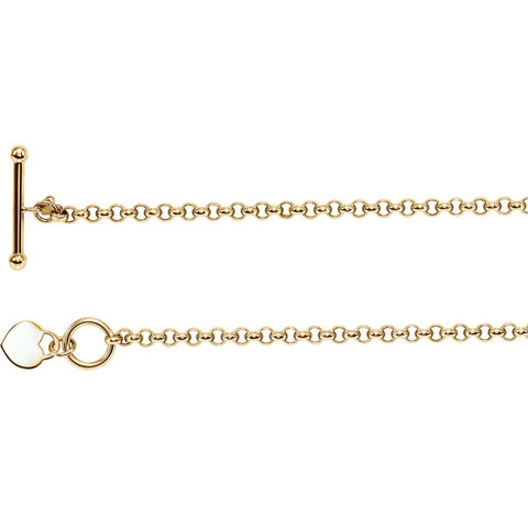 14K Yellow Gold 7-Inch Rolo Bracelet With Heart