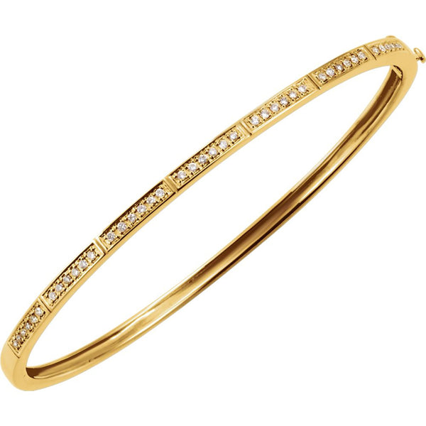14k Yellow Gold 1/3 CTW Diamond Bangle Bracelet