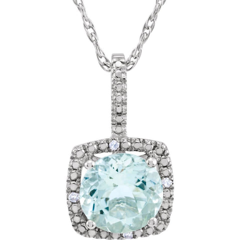 "Sterling Silver 7mm Aquamarine & .015 CTW Diamond 18"" Necklace"