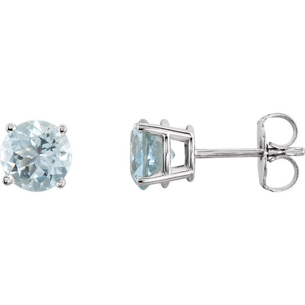 14k White Gold 6mm Round Aquamarine Earrings