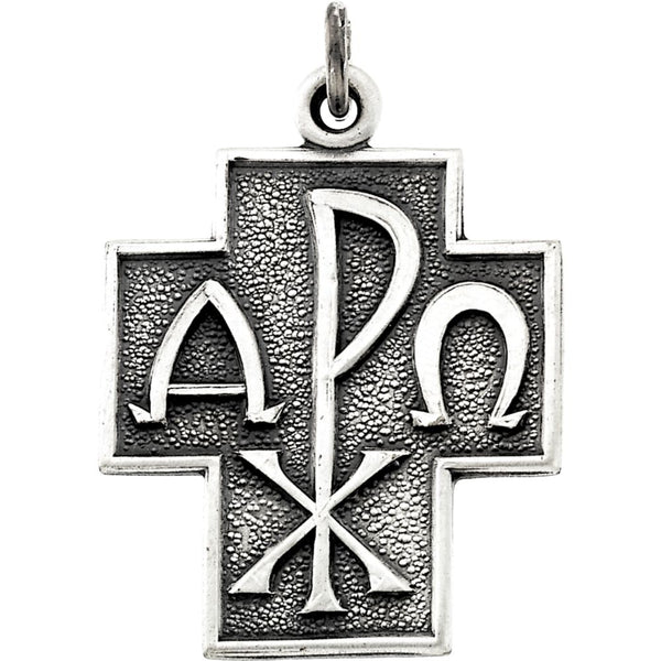 "Sterling Silver 24.5x22mm Alpha Omega Cross 24"" Necklace"