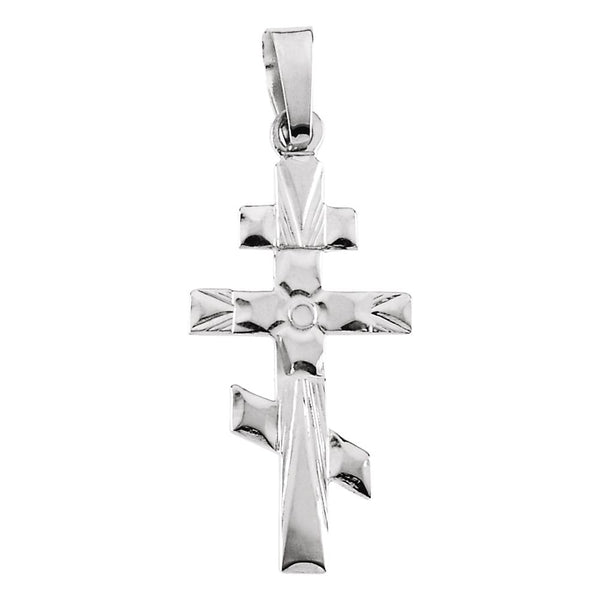 14k White Gold 32x18mm Orthodox Cross Pendant