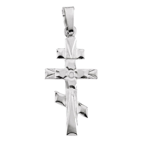 32.00x18.00 mm Orthodox Cross Pendant in 14K White Gold