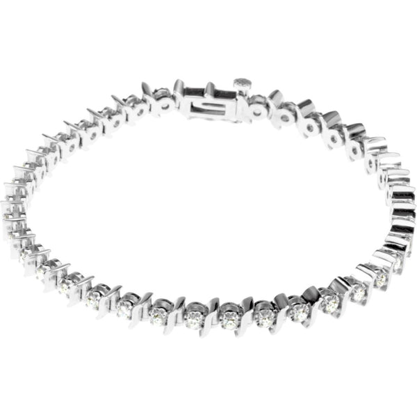 "14k White Gold 1 1/2 CTW Diamond Line 7.25"" Bracelet"