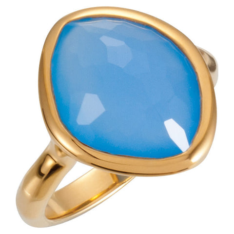 18K Yellow Vermeil Blue Chalcedony Ring Size 6