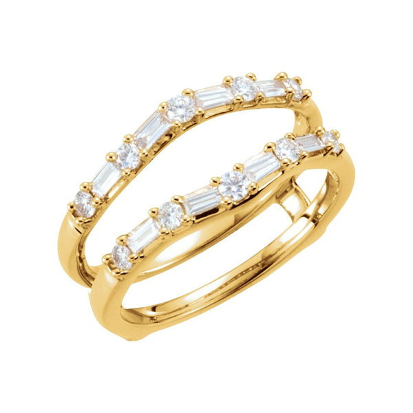 14k Yellow Gold 1/2 CTW Diamond Ring Guard, Size 7