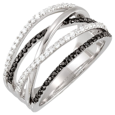 1/2 CTTW Black and White Diamond Ring in 14k White Gold (Size 7 )