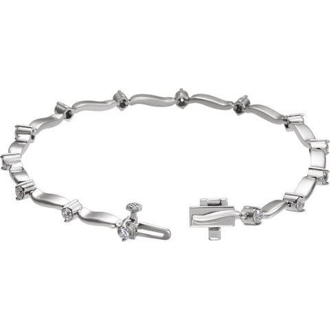 14k White Gold 1 CTW Diamond Line Bracelet