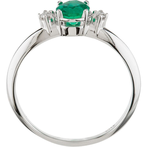 14k White Gold Genuine Emerald & Diamond Ring, Size 7