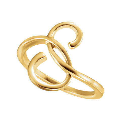 14k Yellow Gold Freeform Ring, Size 7