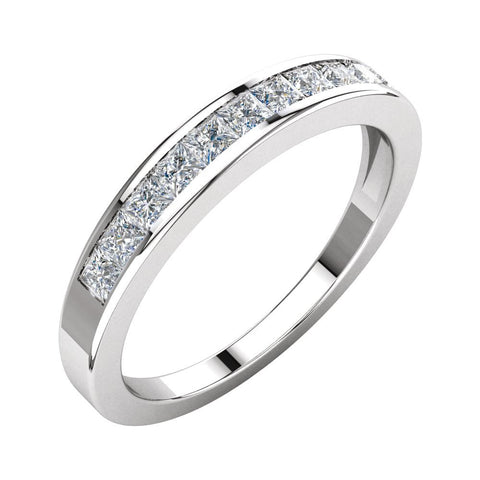 1/2 CTTW Princess-Cut Diamond Anniversary Band in 14k White Gold (Size 7 )