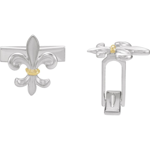 Pair of Two Tone Fleur-de-Lis Cuff Links in Sterling Silver and 14k Yellow Gold