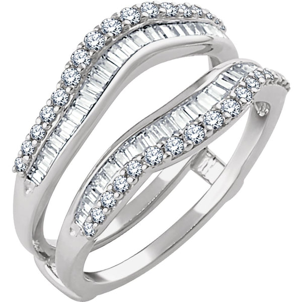 14k White Gold 3/4 CTW Diamond Ring Guard, Size 7