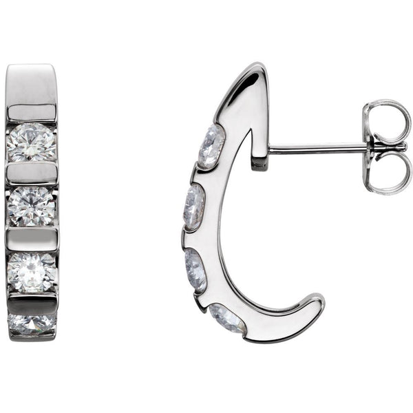 14k White Gold 1 1/4 CTW Diamond Earrings