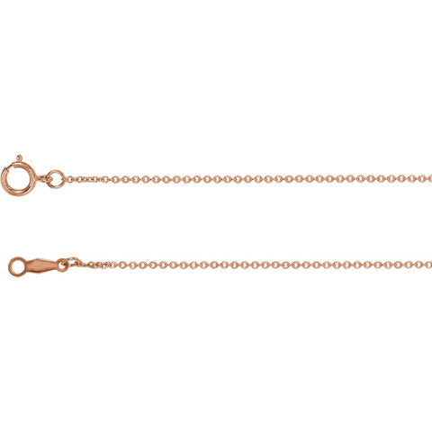 14k Rose Gold 1mm Solid Cable 16-inch Chain