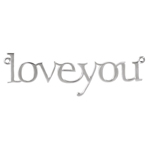"14k White Gold ""Love You"" Neck Trim Pendant Mounting"
