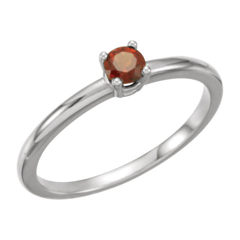 "Sterling Silver Imitation Garnet ""January"" Youth Birthstone Ring, Size 3"