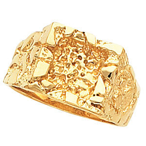 14k Yellow Gold Nugget Ring Mounting, Size 11