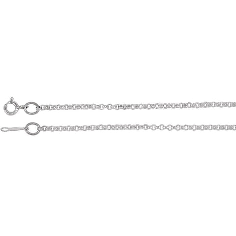 Rolo Chain with Spring Ring in 14k White Gold ( 18.00-Inch )