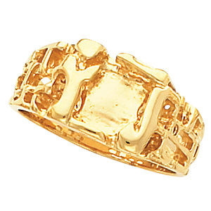 11.00X12.00 mm Men's Nugget Ring Mounting in 14k Yellow Gold ( Size 10 )