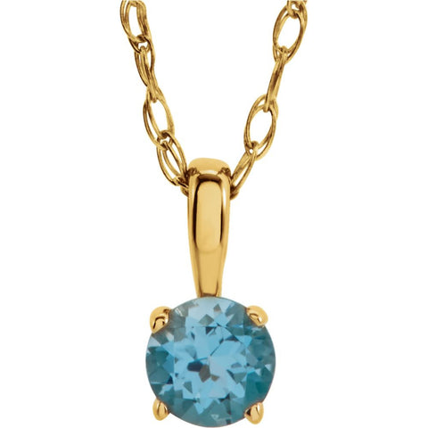 "14k Yellow Gold Imitation Blue Zircon ""December"" Birthstone 14-inch Necklace for Kids"