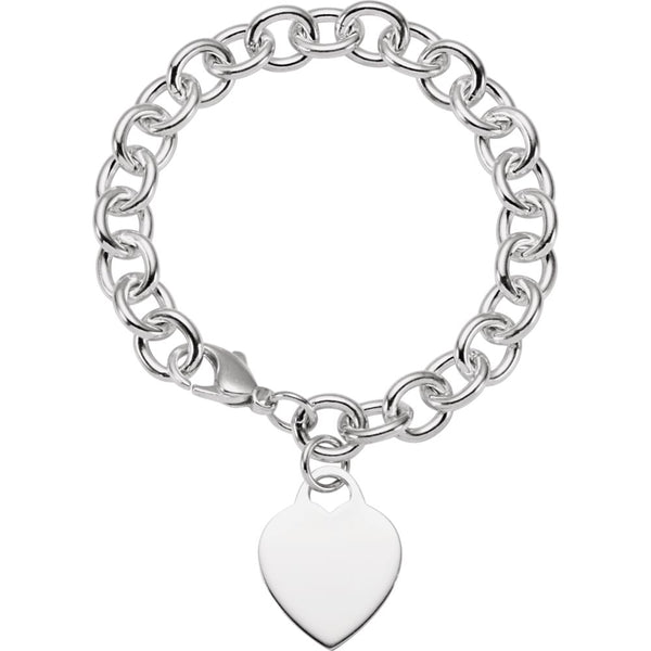 Sterling Silver Heart Charm 7.5