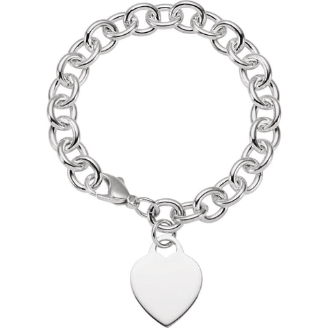 9.75 mm Cable Bracelet with Heart in Sterling Silver ( 7 1/2-Inch )
