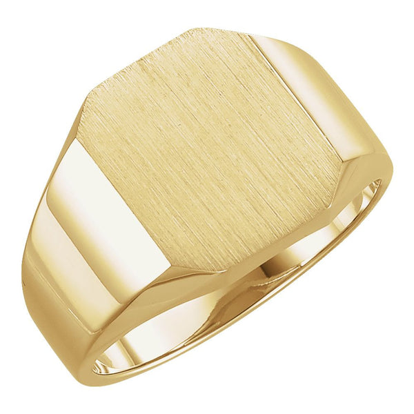 14k Yellow Gold 12x14mm Men's Signet Ring , Size 10