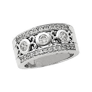 14k White Gold 1 CTW Diamond Anniversary Band, Size 7