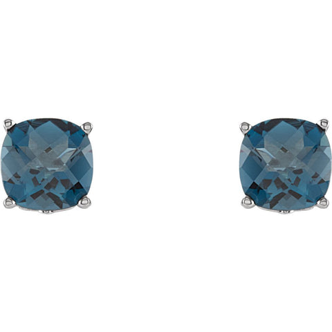 Sterling Silver 5x5mm Cushion London Blue Topaz Scroll Setting® Earring