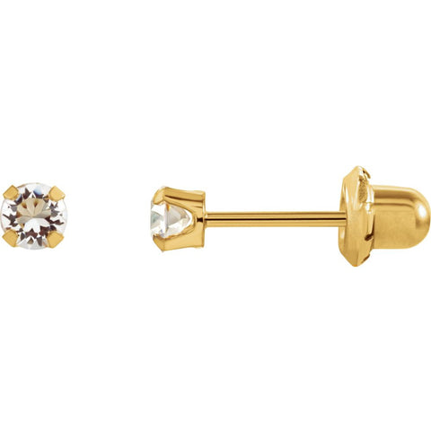 "14K Yellow Gold Solitaire ""April"" Birthstone Piercing Earrings for Kids"