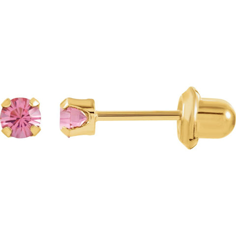 "14K Yellow Gold Solitaire ""October"" Birthstone Piercing Earrings for Kids"