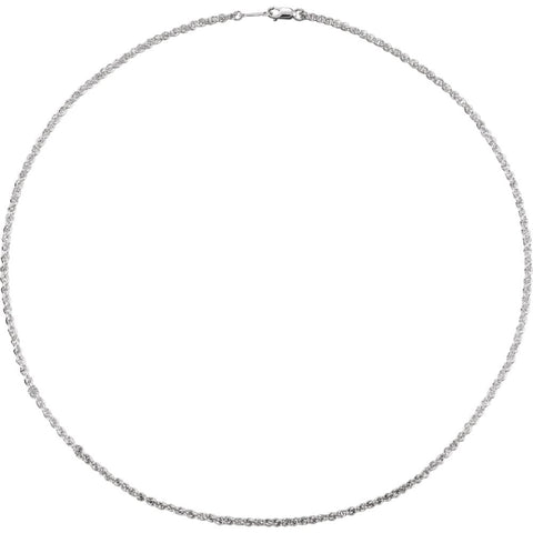 "Sterling Silver 2mm 16"" Rope Chain with Lobster Clasp"