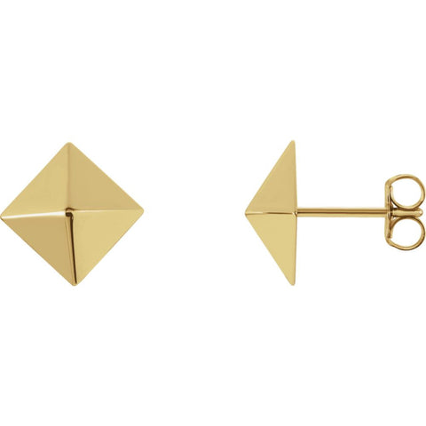 14K Yellow Gold Pyramid Design Earrings