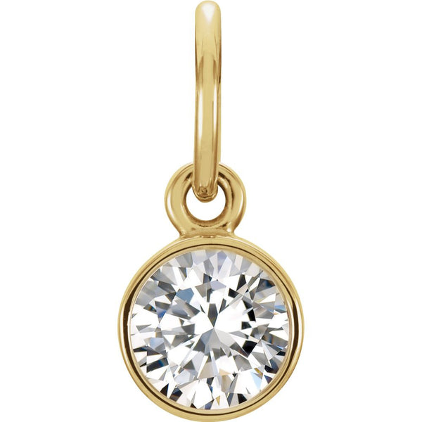 14k Yellow Gold Imitation Diamond Birthstone Charm