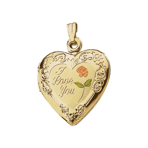 "14k Yellow Gold 20x19mm Enameled Roses ""I Love You"" Heart Locket"