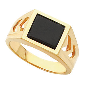 10k Yellow Gold Men's Ring Mounting for Onyx, Size 11