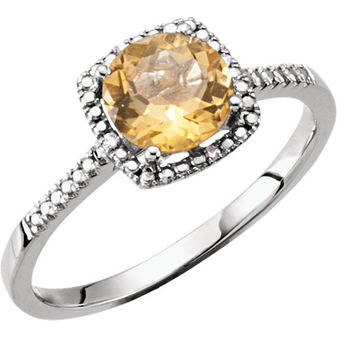 Sterling Silver Citrine & .01 CTW Diamond Ring, Size 6