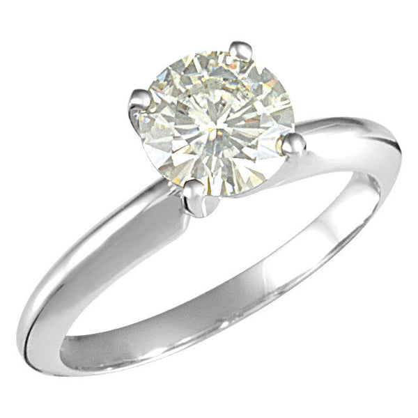 14k White Gold 7.5mm Round Forever Classic™ Moissanite Solitaire Engagement Ring, Size 7