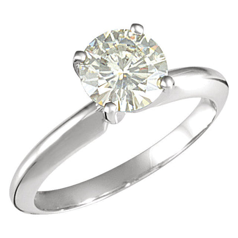 07.50 mm = 1 1/2 ct. Created Moissanite Solitaire Ring in 14k White Gold ( Size 6 )