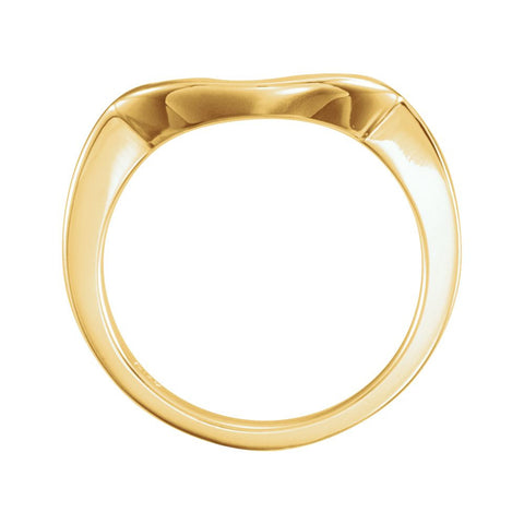 14k Yellow Gold Band for 9.4mm Engagement Ring, Size 6