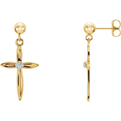 Diamond Cross Dangle Earring in 14K White and Yellow Gold