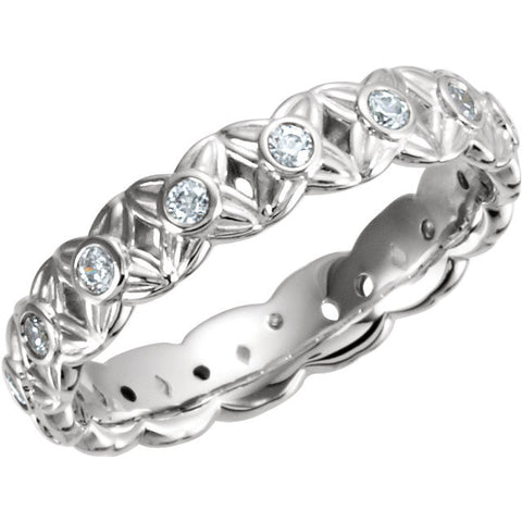 14k White Gold 3/8 CTW Diamond Sculptural-Inspired Eternity Band Size 5.5