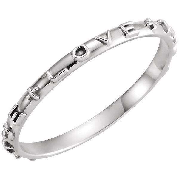 14k White Gold True Love Chastity Ring with Packaging Size 7