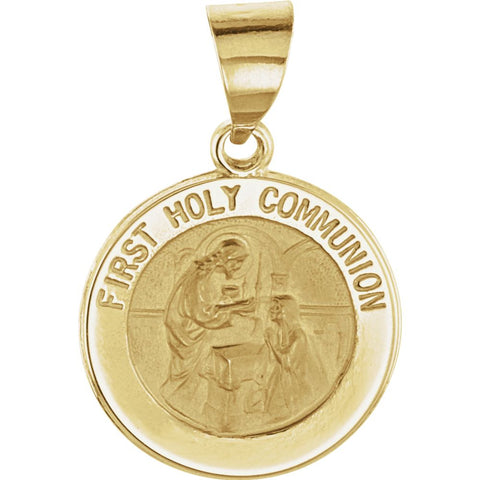 Hollow Round First Holy Communion Medal in 14k Yellow Gold
