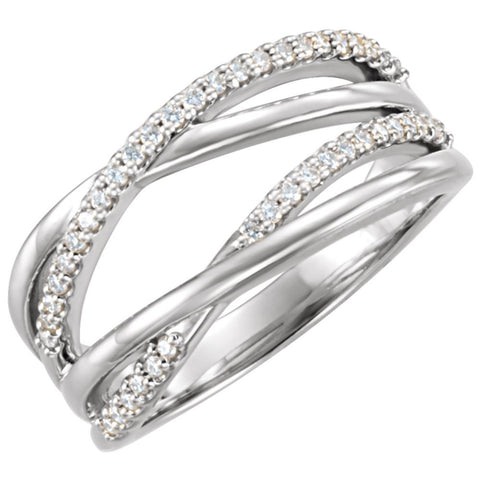 14k White Gold 1/5 CTW Diamond Ring, Size 7
