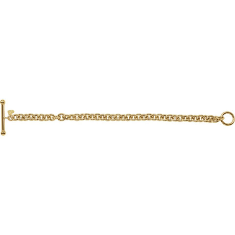 "14k Yellow Gold 6mm Rolo Toggle 7"" Bracelet with Small Heart Dangle"