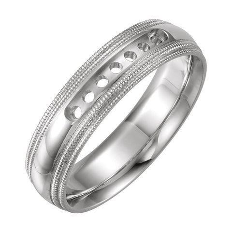 14k White Gold 5mm Half Round Comfort-Fit Double Milgrain Band Mounting, Size 8.5