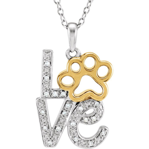 "Sterling Silver .05 CTW Diamond Love Animal Paw Print 18"" Necklace"